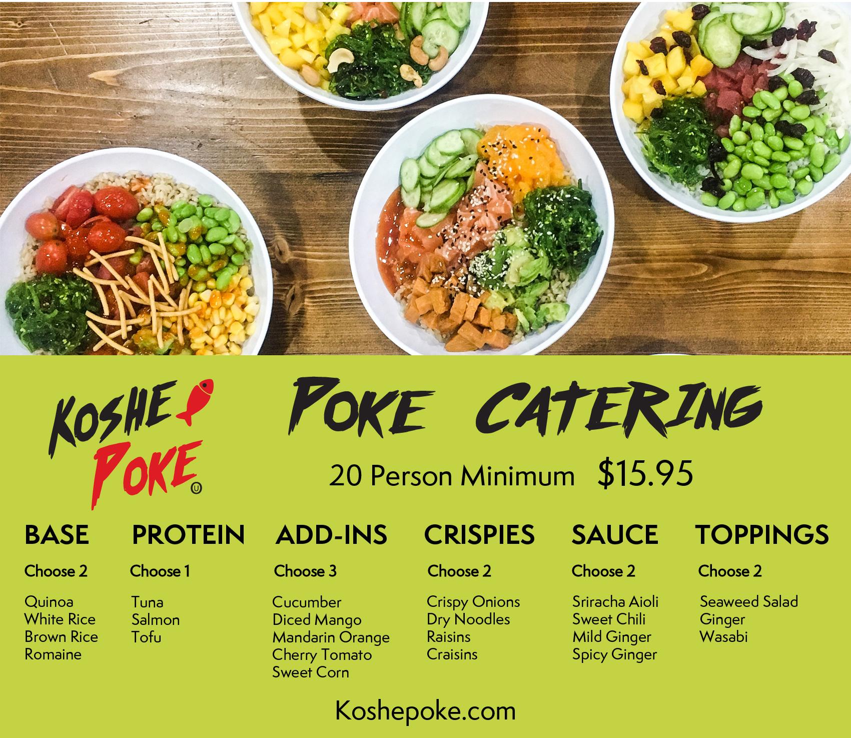 KoshePoke Catering Menu